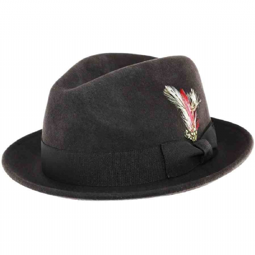 Brown Wool Felt C-Crown Trilby Hat